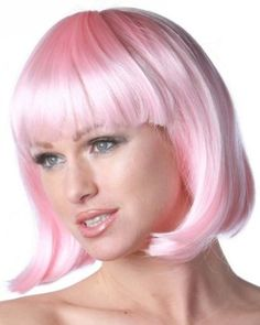China Girl Wig - Sleek mid-length bob wig with straight bangs by New Look Bohemian Hairstyles, Feathered Hairstyles, Party Hairstyles, Wedding Hairstyles, Anime Wigs, Straight Bangs, Cheap Wigs, Pink Wig, Feather Hair Clips