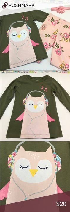 Carter's Musical Owl Top With Floral Leggings This musical owl top is sure to tickle your little one's funny-bone!  The top by Carter's is made of a soft cotton knit in a lovely deep green with a large print of an Owl listing to music on headphones in a lovely blush pink.  The top also has long sleeves which will be great for the transitioning weather in Spring or Fall.  The leggings are blush pink with a beautiful floral pattern that coordinate beautifully.  Pants are knit with a little…