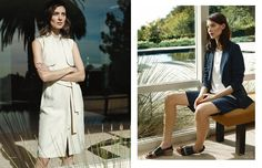 Kati models sandals and simple shapes in the editorial.