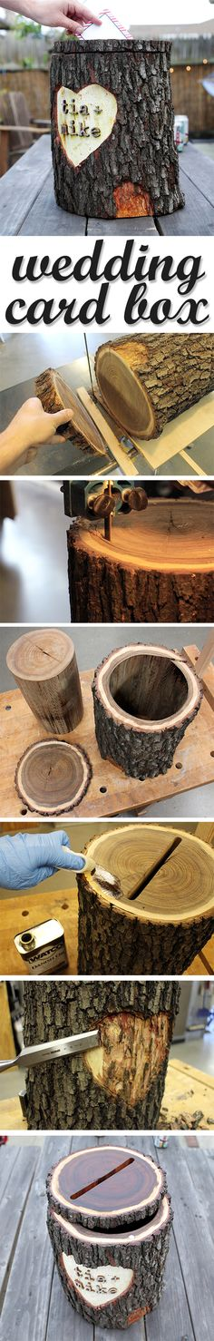 turn a log into a card box for a rustic wedding