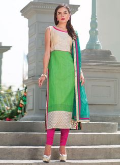 Green Pure Raw Silk Straight Suit