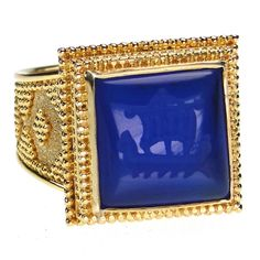 Damaskos Carved Lapis Trireme Intaglio Ring.18k Gold and a carved Lapis.This and more handmade lapis Greek jewellery at Athena's Treasures: www.athenas-treasures.com