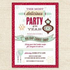 holiday cookie exchange party invitation christmas parties christmas holidays holiday fun merry christmas - Christmas Cookie Exchange Party