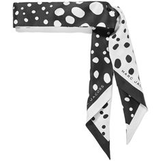 Marc Jacobs Polka-dot silk-satin twill scarf ($115) ❤ liked on Polyvore featuring accessories, scarves, marc jacobs, tie scarves, polka dot scarves, print scarves and patterned scarves