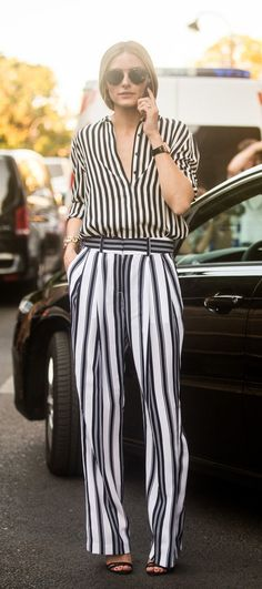 Stripes In Street Style. Olivia Palermo on her way to a Haute Couture show Estilo Olivia Palermo, Olivia Palermo Lookbook, Street Style Summer, Street Style Looks, 30 Outfits, Summer Outfits, Summer Dresses, Power Dressing, Inspiration Mode