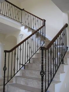 iron spindles for interior stairs | Interior Wrought Iron Stair ...