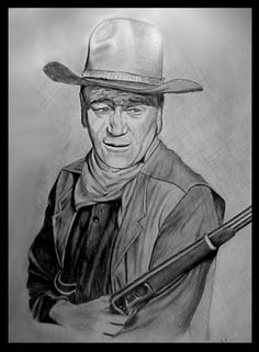 Original pencil drawing of john wayne. John Wayne the Duke Favorite Movie Quotes, Pencil Art Drawings, John Wayne, Pencil Portrait, Old West, Pilgrim, Duke, Hero, Actors