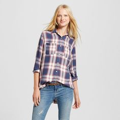 Women's Boyfriend Shirt Navy (Blue) S - Mossimo Supply Co. (Juniors')