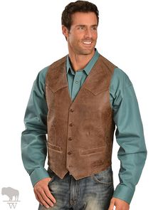 Men's Western Lamb Vest by Scully Leather