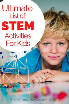 Keep this list of STEM activities for kids handy for use at school and at home. Your kids will have so much fun they will forget they are learning!STEM is a Science Activities For Kids, Stem Science, Stem Activities, Science Experiments, Physical Science, Science Classroom, Science Education, Earth Science, Classroom Ideas