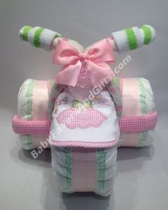 Pink Tricycle Diaper Cake Tricycle Diaper Cakes Zebra