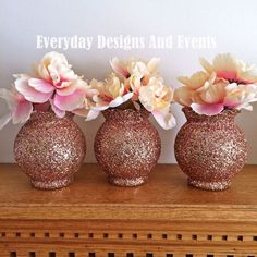 This centerpiece set is perfect for your baby shower decorations, wedding centerpieces, birthday decorations, bridal shower ideas, party decorations, and more. For each quantity you select, you will receive 3 round bowl poly vases with wavy top design, each decorated in glitter. Measurements: larger size/more expensive choice: 5.25-in. tall and has a 2.25 in opening.   The vases are decorated in your choice of glitter color on the outside of the vases and sealed to prevent glitter from s...