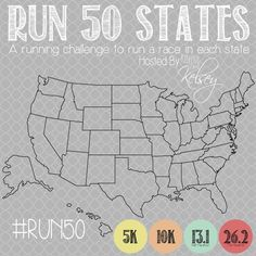 Project #RUN50 (Running 50 Races In 50 States) this is fun to participate in, basically your goal is to run a race (5k, 10k 1/2 marathon or full marathon) in each state. looks like a fun lifetime goal!