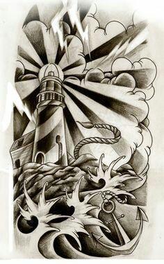 tattoo zeichnung leuchtturm und schiff tattoo t towierung zeichnung tattoo pinterest. Black Bedroom Furniture Sets. Home Design Ideas