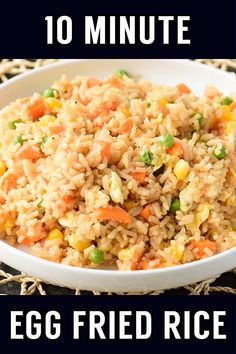 Need a new go-to side dish for busy weeknights? Making fried rice at home is always a great staple, and this easy recipe comes together in just 10 minutes! Easy Rice Recipes, Side Dish Recipes, Easy Dinner Recipes, Asian Recipes, Easy Dirty Rice Recipe, Recipes With Minute Rice, Recipes With Jasmine Rice, Simple Easy Recipes, Rice Breakfast Recipes