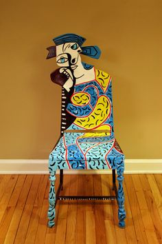 Picasso Weeping Woman Upcycled Chair painted by Artist Todd Fendos