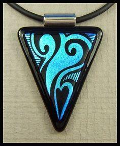 Original dichroic glass pendant...Hand Engraved...SRA