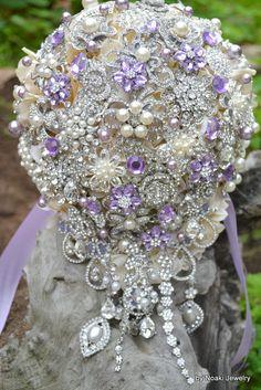Deposit on lavender cascading jeweled brooch bouquet by Noaki