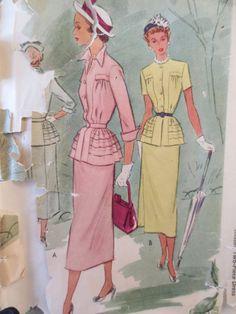 Vintage McCall 7717 Sewing Pattern, Suit Pattern 1940s Dress Pattern, Two Piece Dress, Pleats, Bust 32, 1940s Sewing Pattern, Vintage Sewing