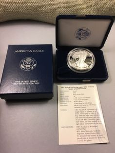 Bullion: 2001 W - Silver American Eagle Proof Coin With Box & Coa - Financializer Store Bullion Coins, Silver Bullion, Gold Coin Price, One Coin, Proof Coins, One Dollar, Coin Necklace, Silver Bars, Silver Coins