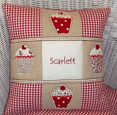 Personalised cupcake cushion
