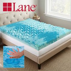 Lane 4 inch Cooling GelLux Memory Foam Gel Mattress Topper, Multiple Sizes, Blue