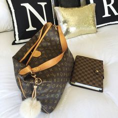 Monogram Cushion covers next to some stunning Louis Vuitton pieces!