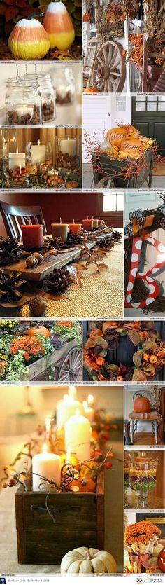Love decorating for fall! Fall Decorating Ideas (I like the maroon paint color). Think I'm going w/ a candy corn one, chevron one, & another HK this year. The perfect trio for our front porch. Fall Crafts, Holiday Crafts, Holiday Decor, Christmas Decor, Thanksgiving Decorations, Seasonal Decor, Thanksgiving Table, Autumn Decorating, Decorating Ideas