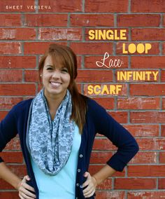 Single Loop Lace Infinity Scarf Tutorial - uses lace and fabric sown together into one loop. This can be done with 2 pieces of the same material or different material.