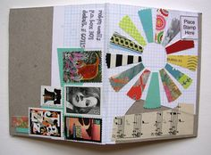 mini notebook mail art with quilt-like pattern by Robyn Wells http://www.robayre.com/news/category/mail-art/ #handmade_books #mail_art #stamps