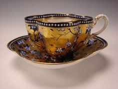Antique Coalport China Aesthetic Cobalt Blue Gold Gilt Cup Saucer c1870