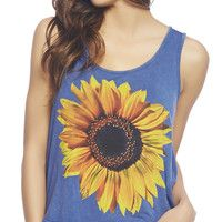 Flower power at its best in this tank, featuring a large sunflower printed along the front a distressed mineral washed knit body, scoop neck, and a high-low round hemline. Model is and wears a size small Rayon / Spandex Hand Wash USA Latest Tops Fashion, Latest Fashion Clothes, Fashion Deals, Fashion Brands, Women's Fashion, Sunflower Print, Looking Stunning, Wet Seal, Dress Me Up