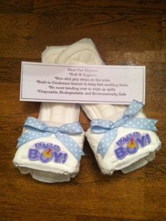 It's A Boy Maxi Pad Bedroom Slippers by kraftsbydonna on Etsy, $3.75
