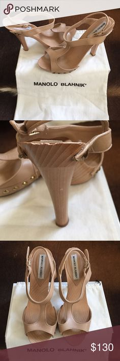 """Authentic Manolo Blahnik Leather Heels Beautiful Manolos in great condition! Reposhing because they are to small for me. Size 39, fits like an 8. Wood base with nude leather upper and brass details at base. 5"""" heel height. Small scuffs on wood of left shoe as pictured but not visible while wearing. Comes with dust bag and box. Don't let these beauties pass you by! Manolo Blahnik Shoes Heels"""