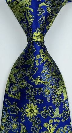 New Classic Florals Blue Gold JACQUARD WOVEN Silk Men's Tie Necktie #Handmade…