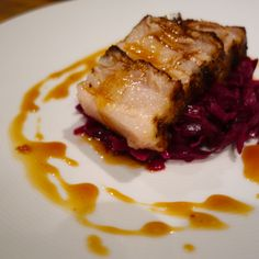 Apple cider-braised Getaway Chinese 5-spiced pork belly w Norberts braised red cabbage with Mutsu apple & onion and apple cider glaze