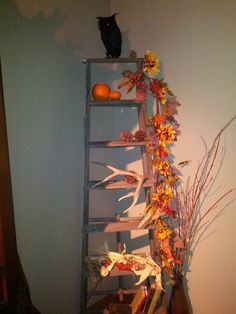 Ladders for Fall Decorations | old ladder with fall decore | seasonal decorating | Pinterest