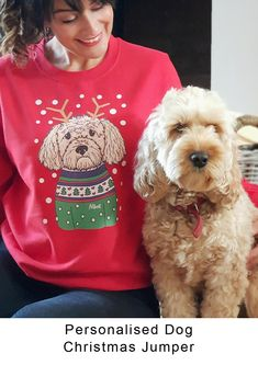 Your Dog for a Christmas Jumper. Personalised Christmas Jumpers. There are some that love to join in, and some that don't. Those that embrace the Christmas Sweater will wear the wackiest Jumper with flashing lights, tinsel, pom pom and tassels, while those that are more anti will need convincing just to wear a jumper adorned with a single snowflake. But well if it's a Christmas Jumper of my Dog, then I might join in. #christmas #christmasgifts #giftideas #giftsformum