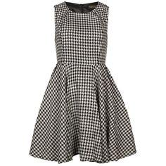 Angel Eye Women's Houndstooth Check Black & White Skater Dress ($27) ❤ liked on Polyvore