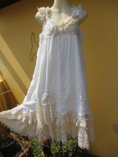 """vintage inspired shabby chic dress with ruffles of crochet lace..medium to 42"""" bust ..."""