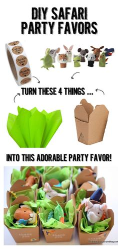 diy kid's safari birthday party - Grits and Chopsticks DIY safari party favors made from IKEA finger puppets, tissue paper, kraft takeout boxes and stickers. So easy and cheap! Safari Party Favors, Diy Birthday Party Favors, Safari Theme Birthday, Wild One Birthday Party, Safari Birthday Party, Party Gifts, Birthday Diy, Diy Party Boxes, Toddler Party Favors