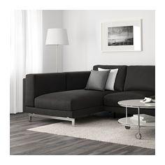 NOCKEBY 2-zitsbank met chaise longue links - links/Tenö donkergrijs, verchroomd - IKEA