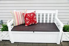 With a bit of paint and time you can turn an old boring plastic storage bench into THIS lovely piece of storage furniture, from I Heart Organizing.