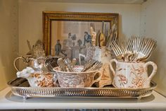 From Nell Hill - what a lovely and practical silverware grouping, on a tray (Country cottage style) Cosy Home, Silver Trays, Tray Decor, Cottage Style, Vintage Silver, Vignettes, Tablescapes, Tea Party, Decoupage
