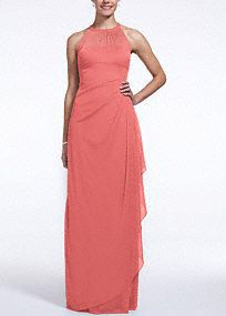 Ultra-feminine and unique this bridesmaid dress has unparalleled details that create a figure flattering silhouette!  Sleeveless illusion neckline with back keyhole is eye catching and chic.  Long soft mesh bodice has cascading side ruffles and back ruching for a flawless finish.  Fully lined. Back zip. Imported polyester. Dry clean only.  To protect your dress, try our Non Woven Garment Bag.