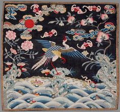 Golden pheasant rank badge, 2nd rank civil servant, silk tapestry with painted details. China , Qing Dynasty, late 18th – early 19th century