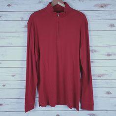 a1f185118a30 Mens Cutter   Buck Zip Mock Neck Polo Shirt L 100% Pima Cotton Cardinal Red