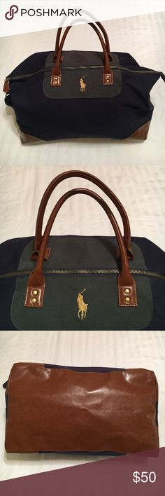 NWOT Ralph Lauren Weekend Bag Brand new & never been used, this bag measures 18 inches across the bottom, 13 1/2 inches tall, and 10 1/2 inches deep. Also features a shoulder strap that has a 20 inch drop. Not made with genuine leather. Comes from a smoke free home. Ralph Lauren Bags Travel Bags