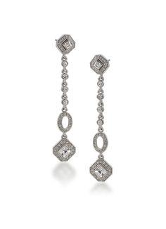 The Sydney Square Cut Crystal Linear Drop Earrings