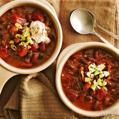 Try our easy slow-cooker chili with a twist! Bittersweet chocolate lends a smooth flavor to this dish and balances the spiciness from chili powder and chipotle pepper. A trio of beans boosts fiber to 8 grams per serving.
